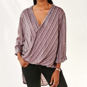 URBAN OUTFITTERS Purple Plaid Surplice Tunic Top